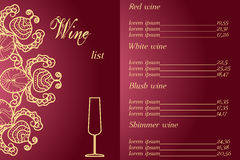 Corporate design wine list. for information, advertising and promotion. luxury and elegance
