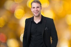 Corporate dress code. Man happy formal black suit festive blurred background. Business casual. Casual look made for. Professional environment and festive royalty free stock photography
