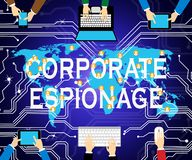 Corporate Espionage Covert Cyber Hacking 2d Illustration. Shows Commercial Business Fraud Or Professional Thief Threat royalty free illustration