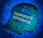 Corporate Espionage Covert Cyber Hacking 3d Rendering. Shows Commercial Business Fraud Or Professional Thief Threat stock illustration