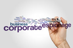 Corporate espionage word cloud Stock Photos
