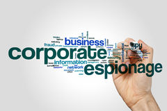 Corporate espionage word cloud concept on grey background Royalty Free Stock Images