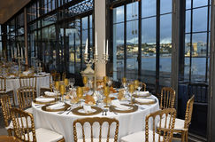 Corporate Event, Dinner with Marina Bay View, Decoration Tables Decoration, Lecture Banquet Stock Photos