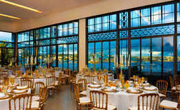 Corporate Event Dinner, Marina Bay View, Decoration Tables Decoration, Lecture Banquet  Stock Photo