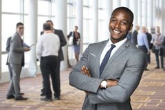Corporate event portrait of an african american team worker enjoying social event stock photos