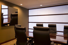 Corporate executive office conference room. Conference room in modern American corporate office building royalty free stock photography
