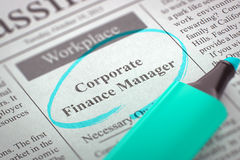 Corporate Finance Manager Hiring Now. Royalty Free Stock Photos