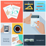 Corporate finance, web banking, management concept. Business concept in flat style for corporate finance, internet banking, management with businessman hands Stock Images