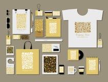 Corporate flat mock-up template, floral design Stock Image