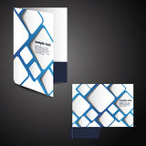Corporate folder with die cut design. Blue Corporate Folder Design with Squares in Editable Vector Format Royalty Free Stock Photo