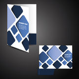Corporate folder with die cut design. Corporate Folder Design with Blue Squares in Freely Editable Vector Format Royalty Free Stock Images