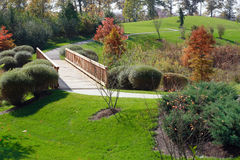 Corporate Garden. Pathway and bridge in a corporate garden Royalty Free Stock Photos