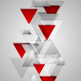 Corporate geometric background with grey and red. Triangles. Vector design illustration Stock Photos