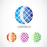 Corporate globe logo set Royalty Free Stock Photos