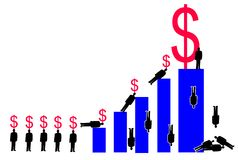 Corporate Greed. Corporate types climbing a bar graph carrying dollar signs. The figure on the tallest bar has the biggest dollar sign Stock Photos