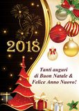 Corporate greeting card for Italian companies. Italian winter holiday greeting card for companies. Merry Christmas and Happy New Year Italian language. Print Royalty Free Stock Image
