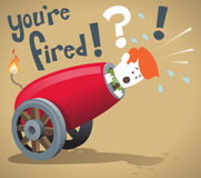 Corporate Guy gets fired. Illustration of Corporate Guy about to be fired from his job out of a giant cannon Stock Photo