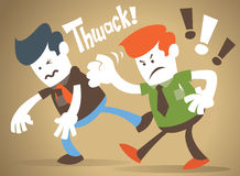 Corporate Guy has a fight with his rival. Corporate Guy has a major dispute with his rival in business and gives him a good thump Stock Photography