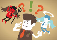 Corporate Guy has a Moral Dilemma. Great illustration of Retro styled Corporate Guy caught up in a Catch-22 battle of wills with both a devil and an angel Stock Image
