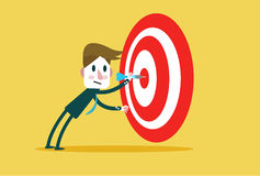 Corporate Guy Hits a Bulls-eye. Concept target market, audience, group, consumer,goal, success. Flat character design and elements. vector illustration Stock Image
