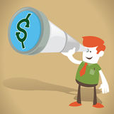 Corporate Guy with Money in his sights Royalty Free Stock Photography