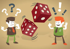 Corporate Guys play with casino dice. Corporate Guys play a risky business game and gamble on their financial futures with casino dice vector illustration