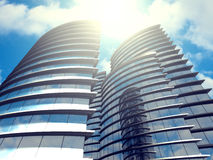 Corporate headquarters skyscrapers buildings modern glass  exter Royalty Free Stock Images