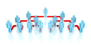 Corporate hierarchy business network 3d people. Business concept leadership teamwork illustration Stock Images