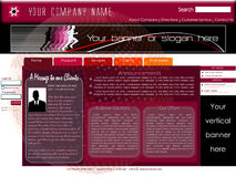 Corporate home page website template. Professional corporate home page website template with standard leaderboard banner and vertical banner, designed with user' stock illustration