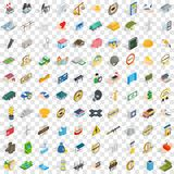 100 corporate icons set, isometric 3d style. 100 corporate icons set in isometric 3d style for any design vector illustration Royalty Free Stock Photo