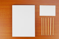 Corporate ID set on wood background. Stock Photography