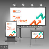 Corporate identity. Billboard, sign, light box. White outdoor advertising design for corporate identity with red and green arrows. Stationery set Stock Photo
