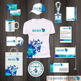 Corporate identity business photorealistic design template. Classic blue stationery template design. Watch, T-shirt, cap. Flag, package and Documentation for stock illustration
