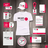Corporate identity business photorealistic design. Template. Classic pink stationery template design. Watch, T-shirt, cap, package and Documentation for Stock Image