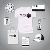 Corporate identity business photorealistic design template. Classic white stationery template design. Watch, T-shirt Royalty Free Stock Image
