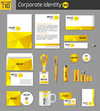 Corporate identity business photorealistic design. Template. Classic yellow stationery template design. Documentation for business. Vector illustration Stock Images