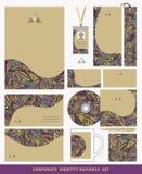 Corporate identity business set design.Ethnic triangles pattern Stock Photos