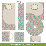 Corporate identity business set design.Oriental paisley pattern Royalty Free Stock Photo
