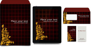 Corporate identity business set. Vector illustration. Scottish texture, and classic arabesque Stock Images