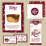 Corporate identity for cafe or restaurent. Sweet style with hand drawn desserts.  Royalty Free Stock Image