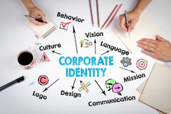 Corporate Identity Concept. The meeting at the white office table.  Royalty Free Stock Images