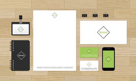 Corporate identity design mock-up on wooden Stock Image
