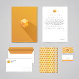 Corporate identity design template. Documentation for business (folder, letterhead, envelope, notebook and business card). Geometr Royalty Free Stock Images