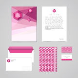 Corporate identity design template. Documentation for business (folder, letterhead, envelope, notebook and business card). Geometr. Ic pink-purple abstract Royalty Free Stock Image