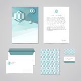 Corporate identity design template. Documentation for business (folder, letterhead, envelope, notebook and business card). Geometr Royalty Free Stock Photography