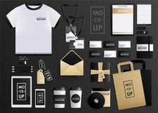 Corporate identity design template set. Mock-up package, tablet, phone, price tag, cup, notebook stock photography
