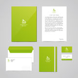 Corporate identity eco design template. Documentation for business (folder, letterhead, envelope, notebook and business card). Log Stock Image