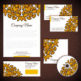 Corporate identity with floral gold ornament Royalty Free Stock Photo