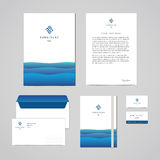 Corporate identity furniture company blue design template. Documentation for business. (folder, letterhead, envelope, notebook and business card). Perfect for Vector Illustration