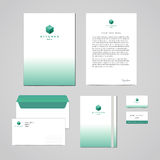 Corporate identity furniture company turquoise design template. Documentation for business (folder, letterhead, envelope, notebook Royalty Free Stock Photo